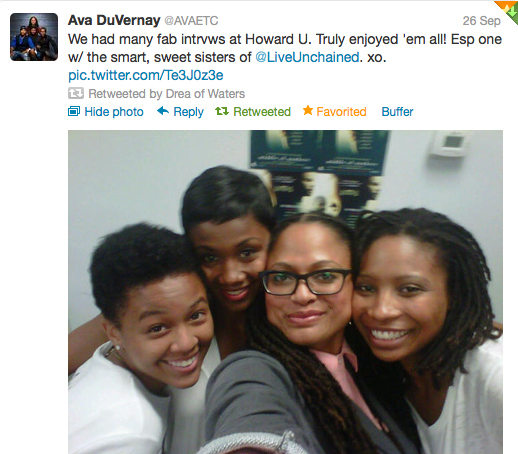 Twitter photo of Ava DuVernay and members of the Live Unchained Collective.